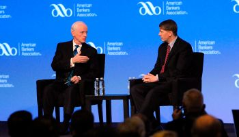 ABA's President Frank Keating, l., discussed hot issues with CFPB Director Richard Cordray during a key session at the association's Annual Convention. Cordray's speech, coming first, explored mortgage regulation, regulatory burden, and financial literacy themes.