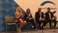 Speaking on the future of community banking at LendIt Fintech in San Francisco were, l. to r., Trish North, Numerated; Karolina Banna, Pivotus Ventures; and Scott Skorobohaty, Laurel Road.
