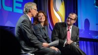 Are banks dinosaurs or have they been evolving? CNBC's Bob Pisani, left, probed this at Exponential Finance 2015 with RBC's Linda Mantia, c., and JPMorganChase's Gavin Michael, r.
