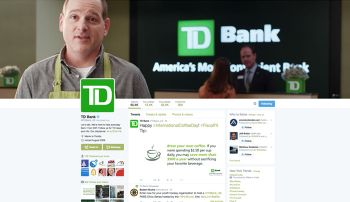 "TD Bank's public-facing social media presence, such as this Twitter home page, is just one side of its efforts. The bank also uses an internal social setup for internal purposes and to help employees hone their ""social skills."""