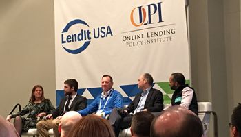 Debating pros and cons of fintech charters were, l. to r., consultant Jo Ann Barefoot; Matt Lambert of CSBS; Jeff Meiler of Marlette Funding; consultant David Cotney; and Zopa's Jaidev Janardana.