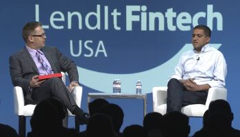 Omer Ismail, head of Marcus By Goldman Sachs, right, discusses his young operation's early success and its thirst for fintech talent in a keynote session interview with LendIt Fintech co-founder Peter Renton. For a link to a video of this event, see the end of the article.